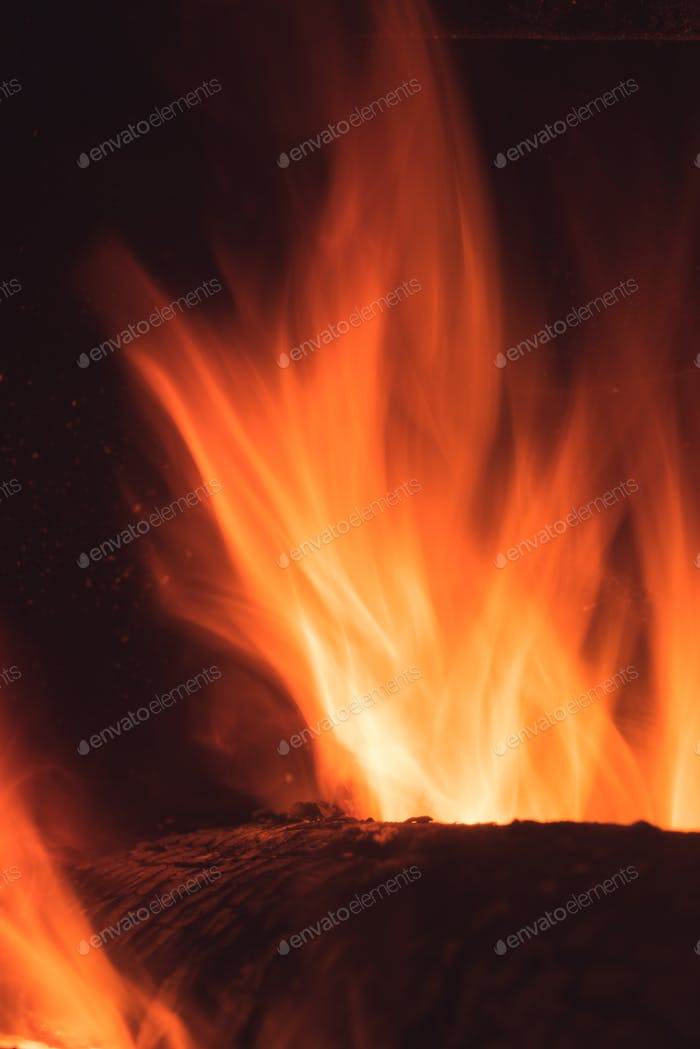 Log on fire in a home fireplace