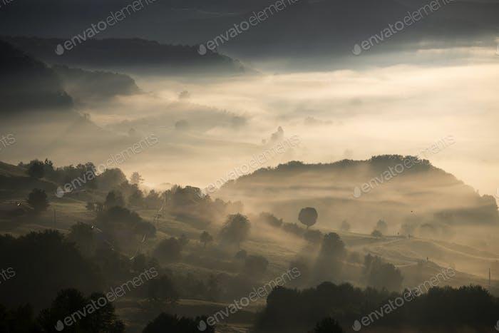 Magic sunrise in a Carpathian mountain valley