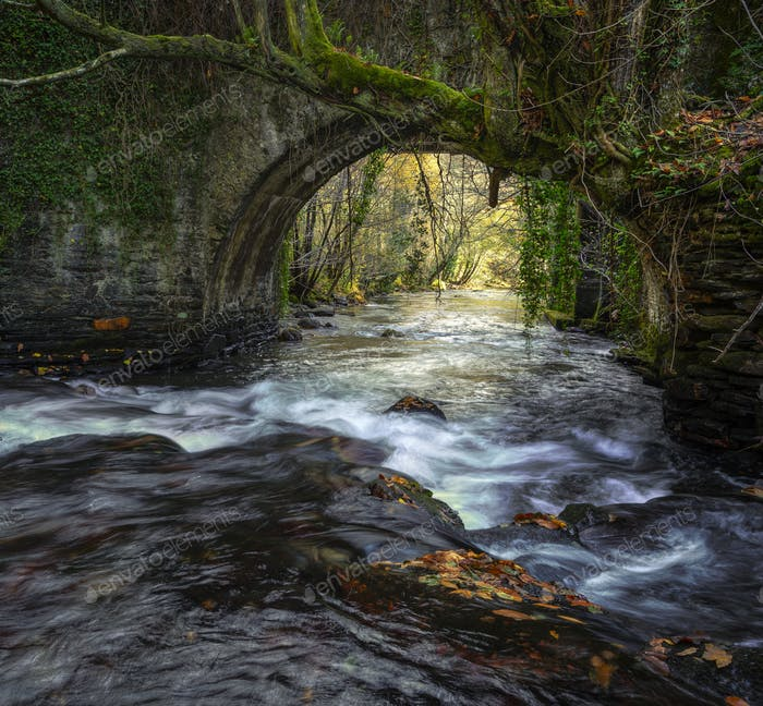 An old medieval stone bridge