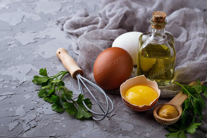 Ingredient for cooking  mayonnaise:  olive oil, eggs, mustard, lemon