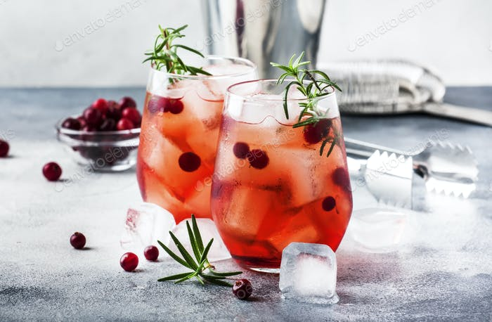 Cranberry cocktail cape kodder with ice, rosemary and berries