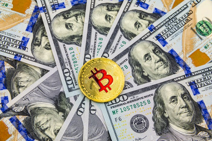 Bitcoin y criptomoneda en billetes de Uno dólares