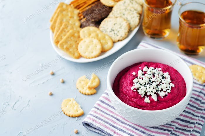 Beet hummus with Feta and black sesame