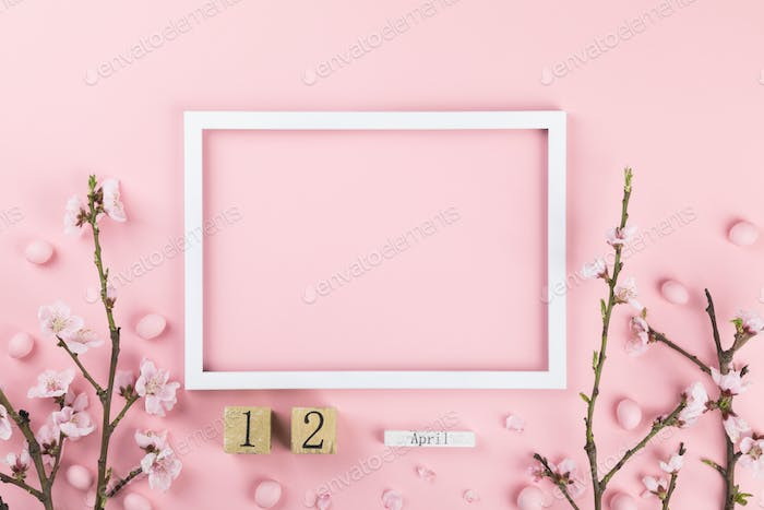 Easter composition  on a pink background.Greeting card traditional holiday decor.
