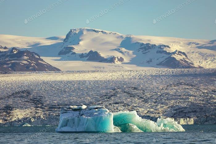 Fantastic floating icebergs in Jokulsarlon glacier lagoon.
