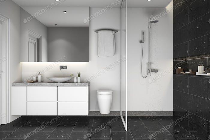 3d rendering black tile shower and bathroom