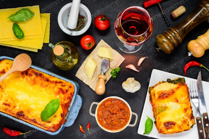 Italian Food Cooking Ingredients with Baked Lasagna