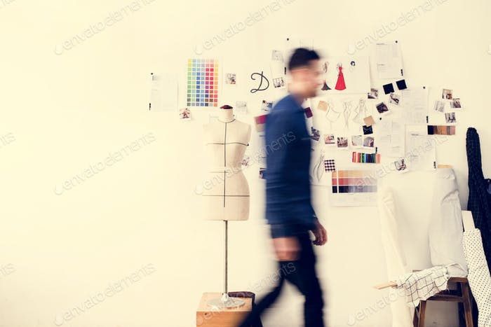 Blurred image of a man walking