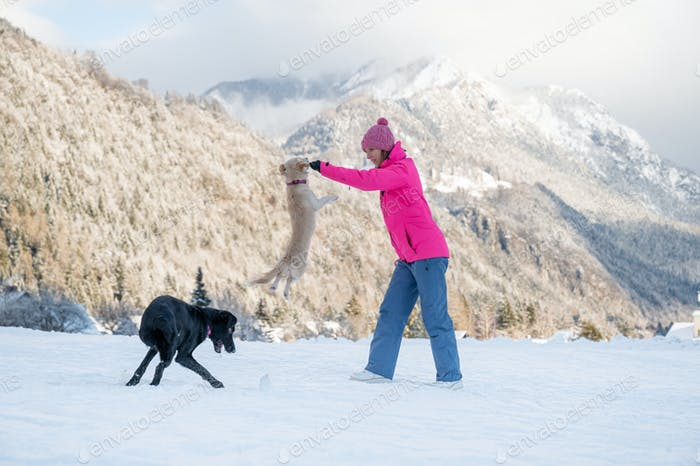 Young woman outside on snow with her dogs