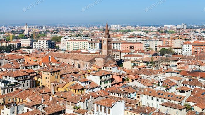 above view Verona city with chiesa sant'anastasia