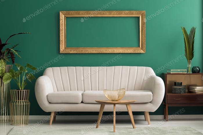 Mockup in green living room