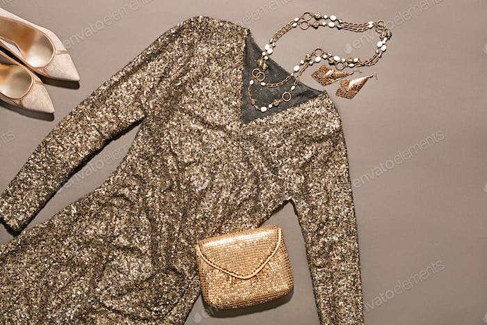 Fashion clothes stylish set, dress and accessories