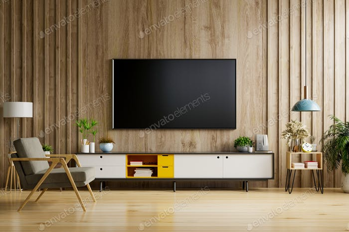TV on cabinet in modern living room.