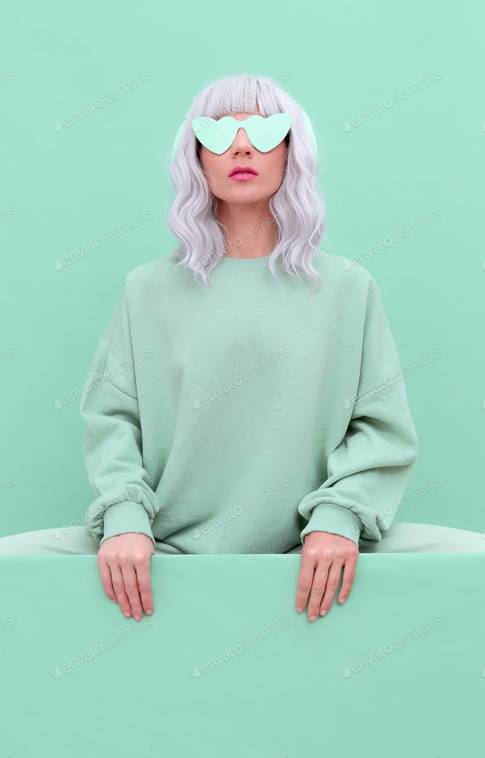 Fresh Mint Lady. Minimal aesthetic monochrome fashion design. Aqua menthe color trend