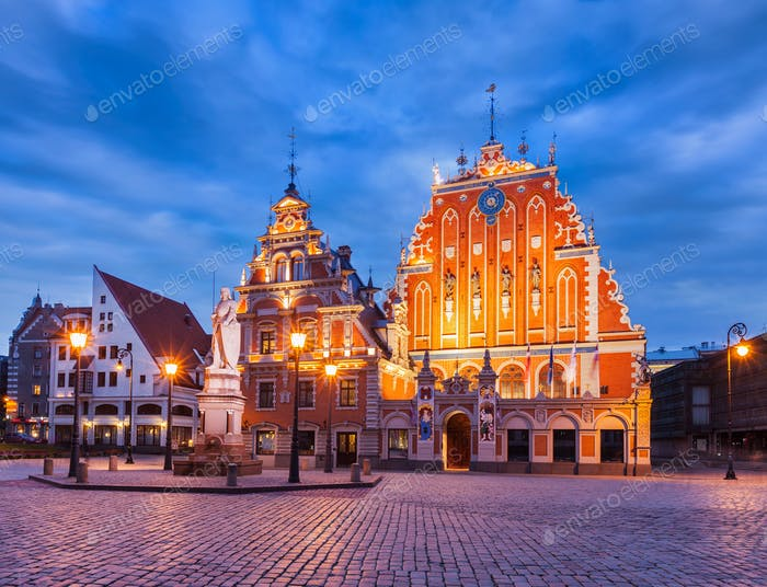 Riga Town Hall Square, House of the Blackheads and St. Peter's C
