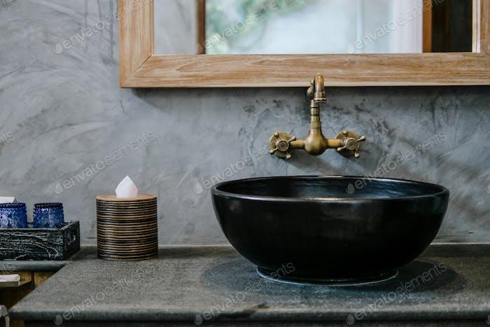 Black sink vintage copper faucet loft bathroom