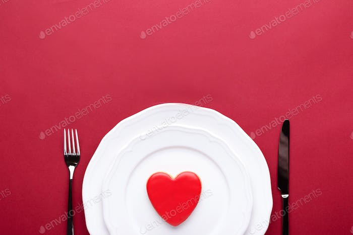 Valentine's Table Setting with Biscuit Heart.
