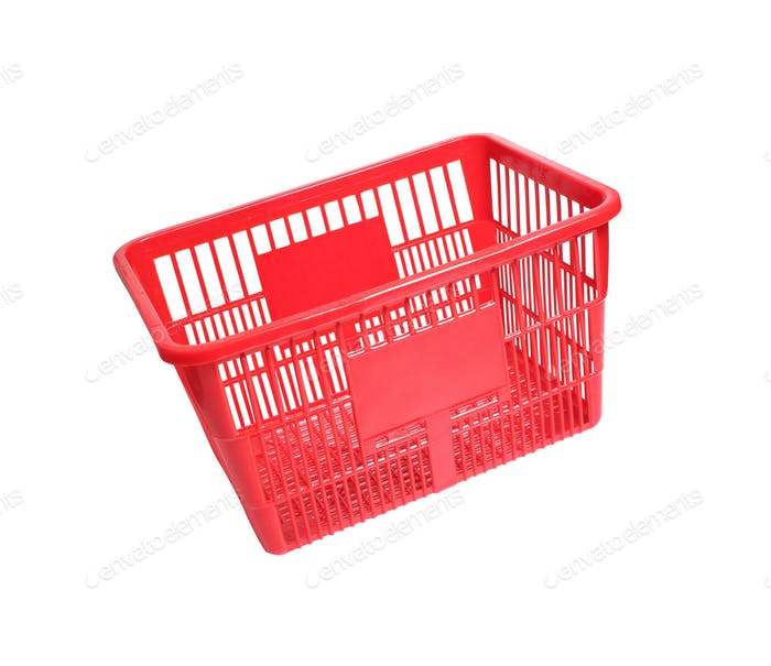 a red shopping basket isolated on white background