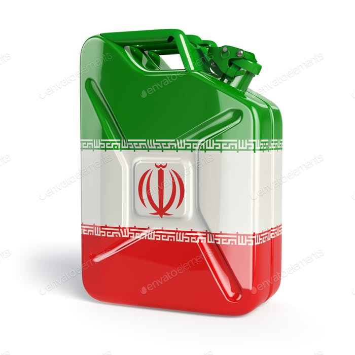 Oil of Iran. Iranian flag painted on gas can.