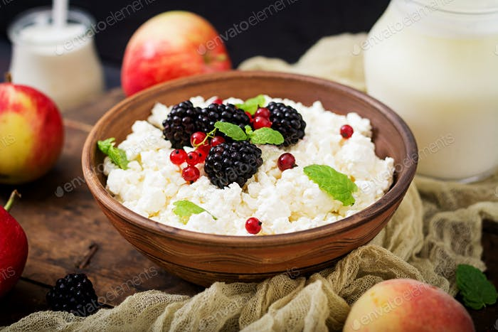 Cottage cheese with blackberries in a  bowl.