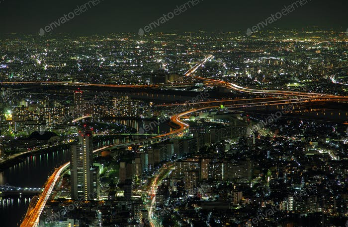 Epic Tokyo Night Aerial Cityscape Traffic Lanes