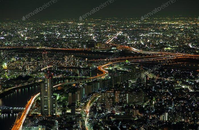 Epic Tokyo Night Aerial Stadtbild Verkehrswege