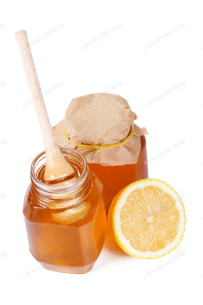 lemon and honey on white