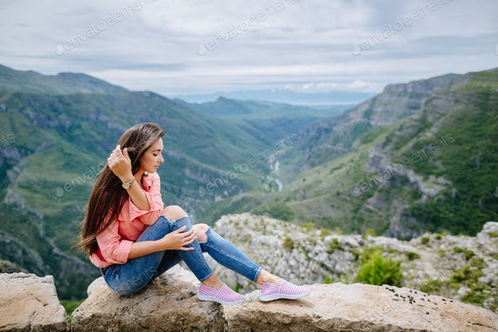 woman relax and travel in mountains Montenegro