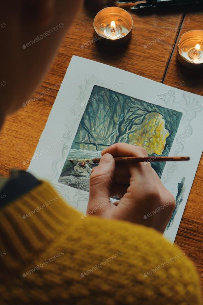 frau maler künstler malerei ein bild von einer fantasiehöhle mit wasserfarbe
