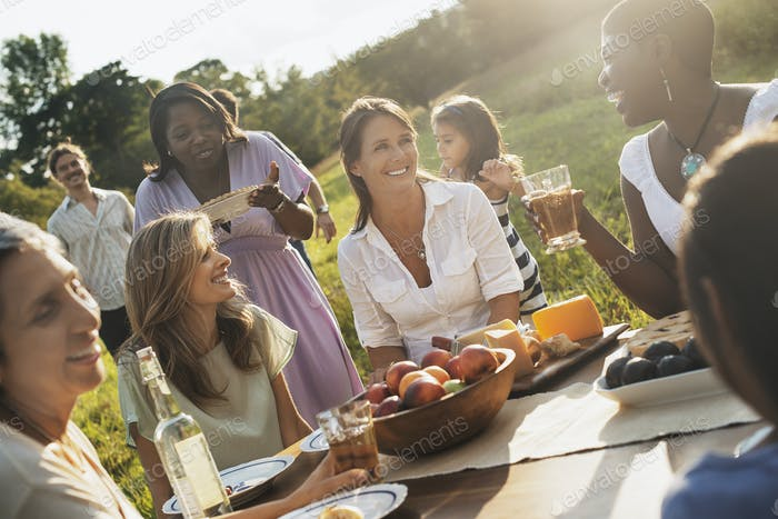 A family and friends having a meal outdoors.  A picnic or buffet in the early evening.