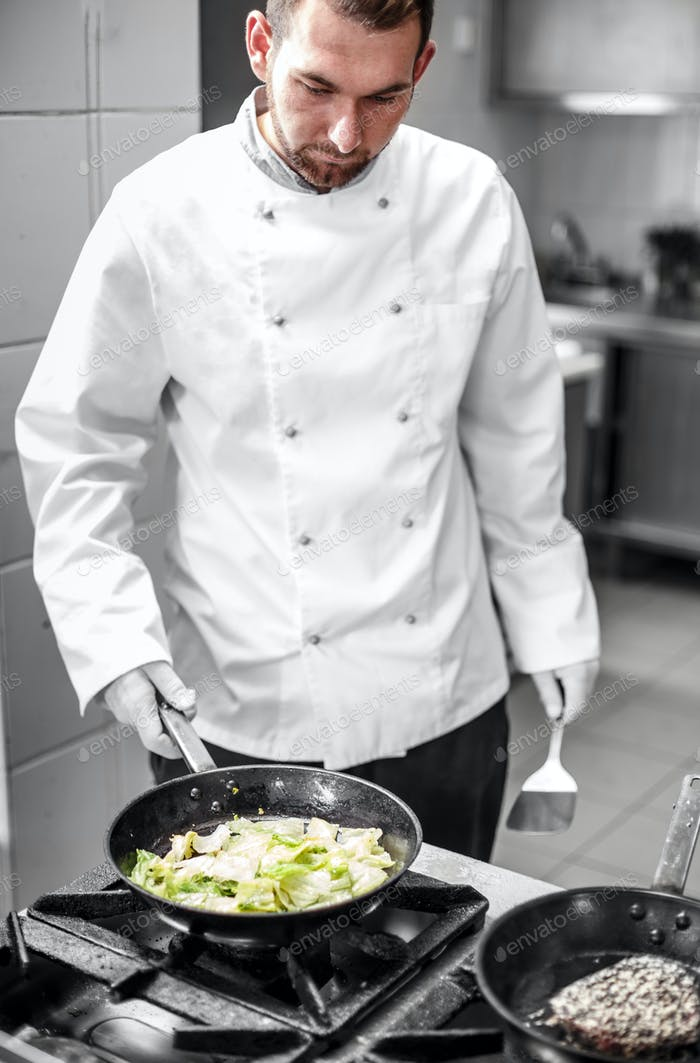 Chef cooking garnish