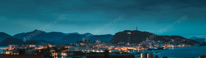 Alesund, Norway. Night Alesund Skyline Cityscape. Historical Center In Summer Evening. Famous