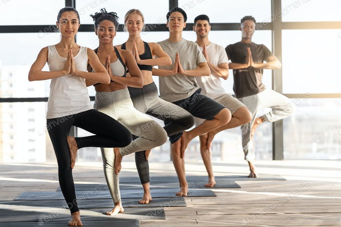 Vrksasana Yoga. Group Of Happy Multiethnic People Practicing Tree Pose In Studio
