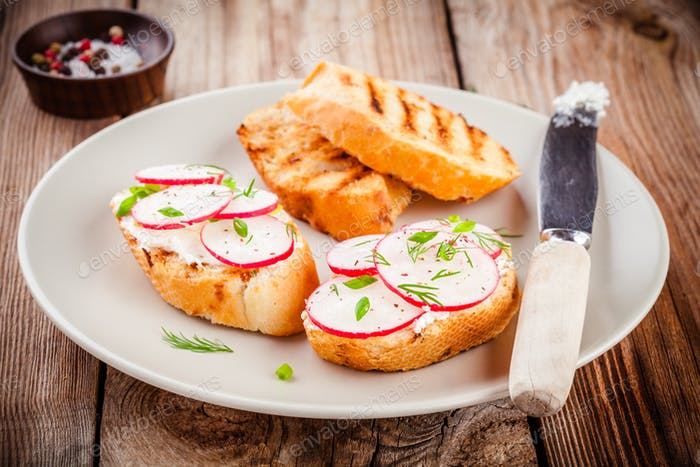 toasts with cream cheese, organic radish, onion and dill