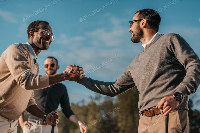 Happy Stylish Multicultural Friends Shaking Hands While Playing Golf on Golf Course