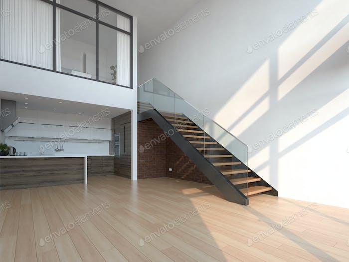 Empty modern interior room 3d illustration