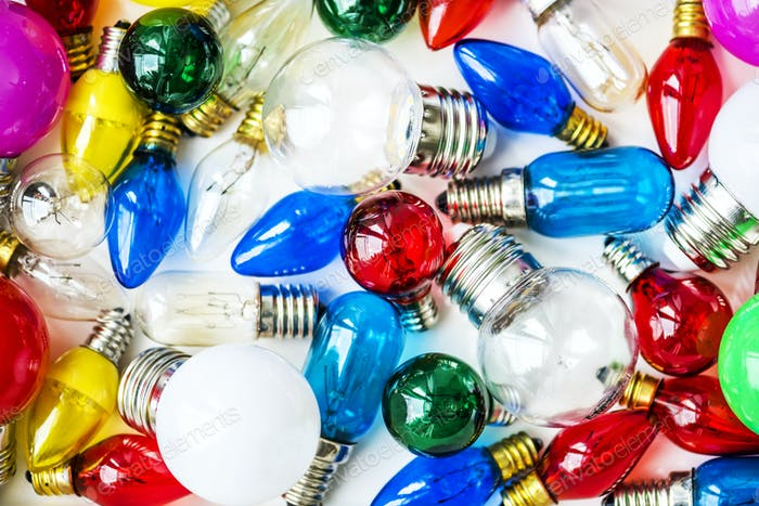 Collection of colorful light bulbs
