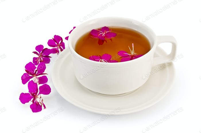 Herbal tea in a white cup with fireweed