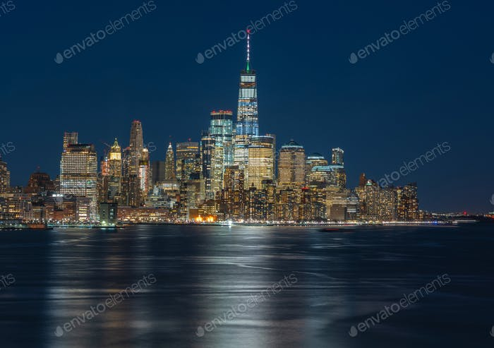 Panorama New york cityscape river side at twilight time, USA