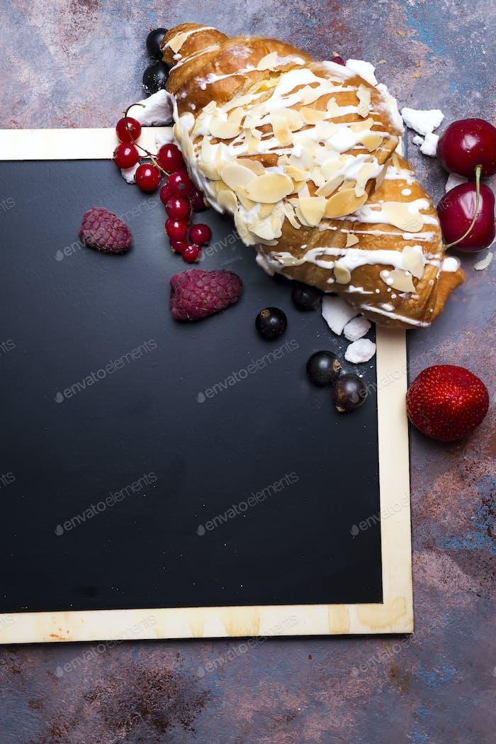 Croissant on chalkboard