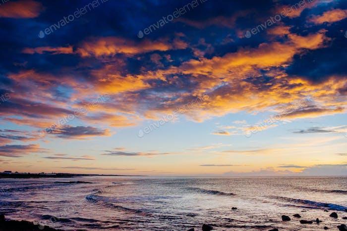 Sunset over sea. Instagram tonic effect. Europe. Georgia