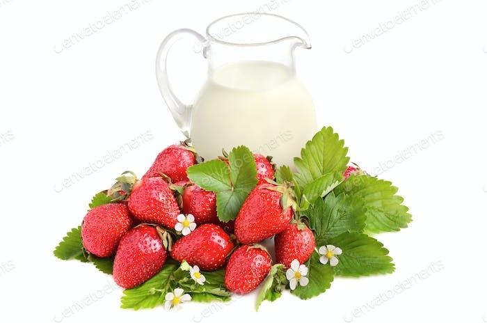 Ripe strawberries and milk