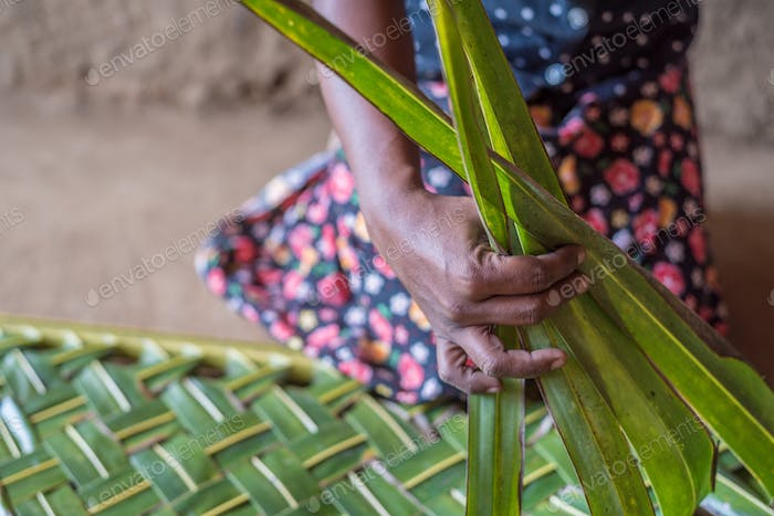 Woman hands braiding green coconut leaves