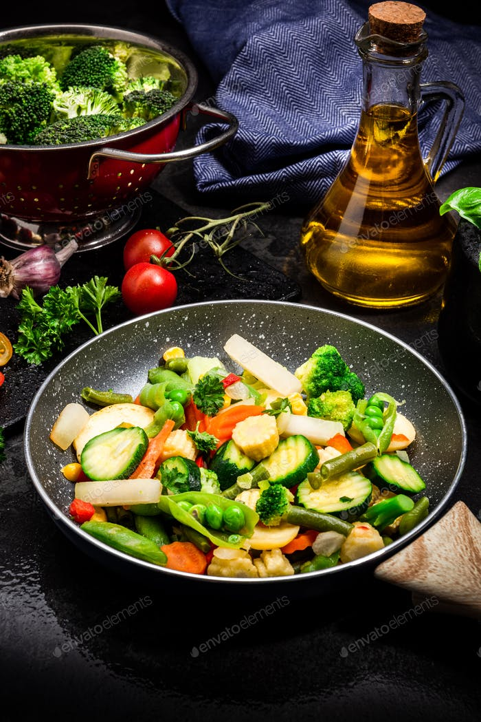 Stir Fry Fresh Vegetables Mix on Frying Pan. Dark Tones Black Image. Healthy Eating Ideas