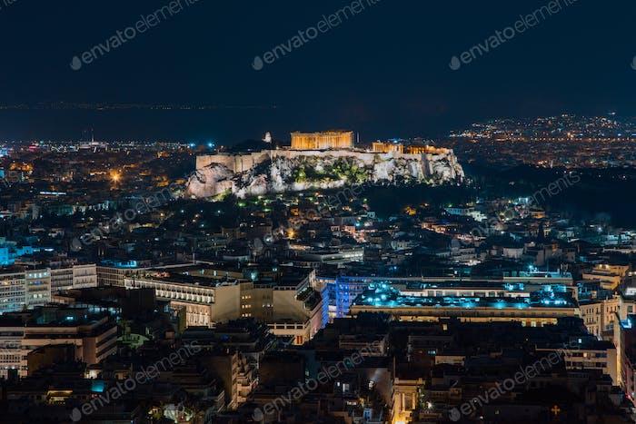 Akropolis, Parthenon, Athen bei Nacht