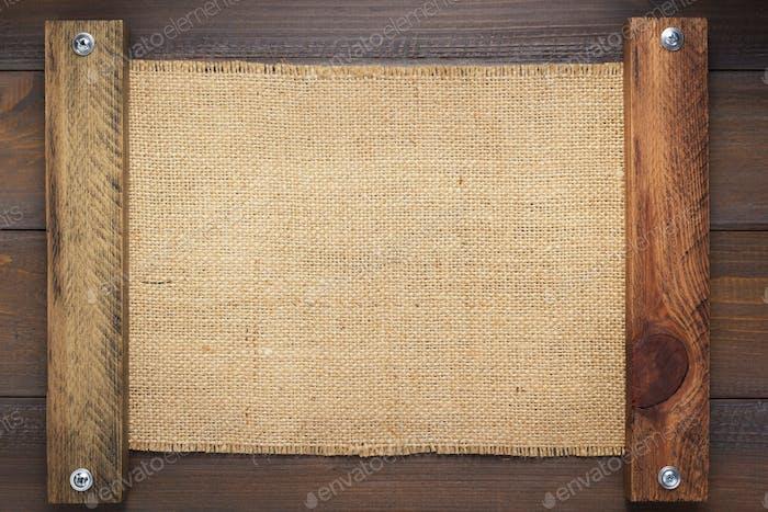 Sackleinen Sackleinen Säckung Textur auf Holz