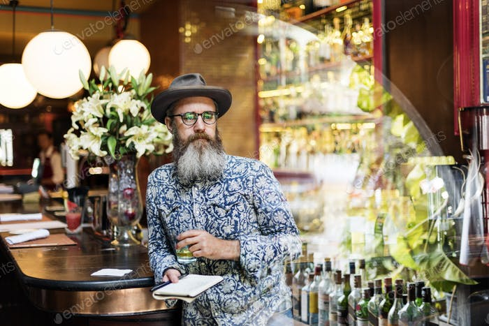 Hipster Man Drinking Relax Concept