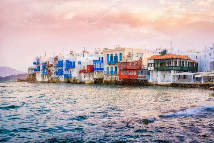 Scenic view of Little venice on Mykonos island