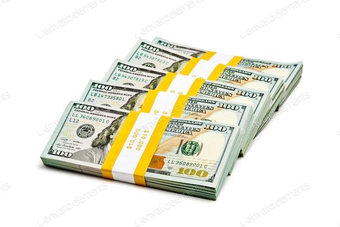 Bundles of 100 US dollars 2013 banknotes bills