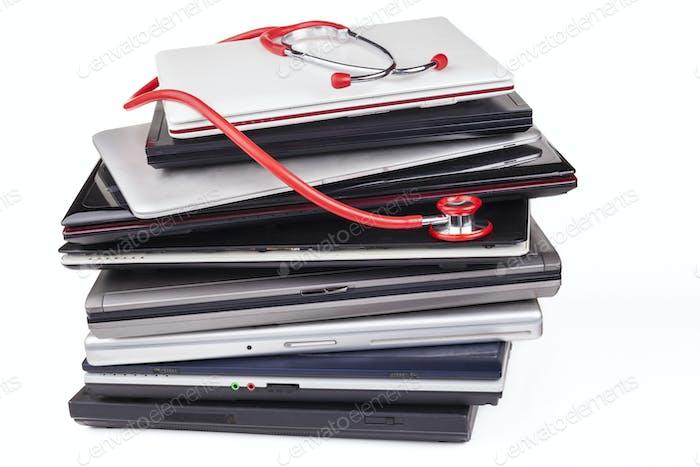 Laptops and Stethoscope